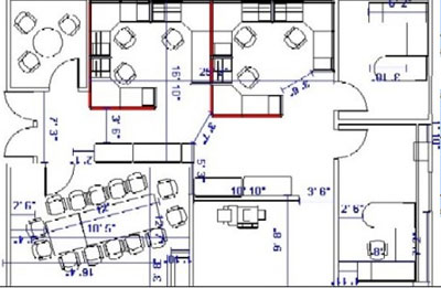 Office space planning cad design davena office furniture to an architectural 2 dimensional autocad blueprint malvernweather Choice Image